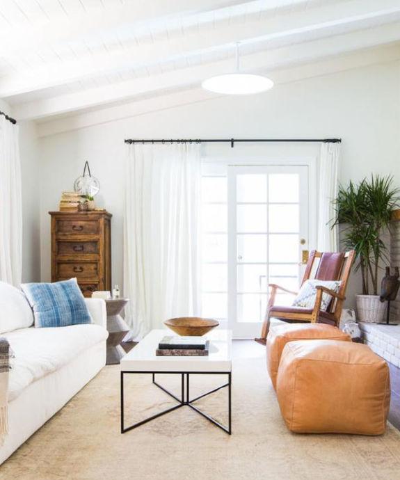 Square Leather Poufs Ottoman 16, Poufs For Living Room
